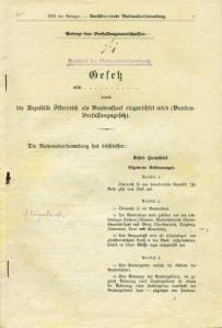 Beschluss der Nationalversammlung: Gesetz vom 1. Oktober 1920, womit die Republik Österreich als Bundesstaat eingerichtet wird (Bundesverfassungsgesetz).