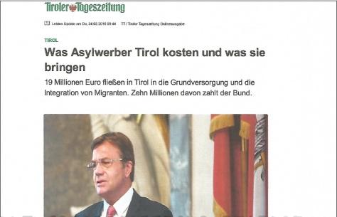 Tiroler Tageszeitung Migrantenrechnung