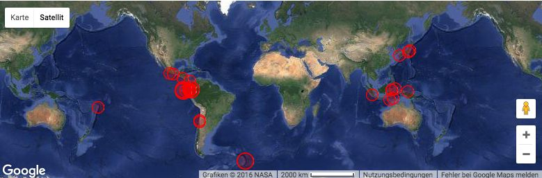Erdbeben in Echtzeit weltweit
